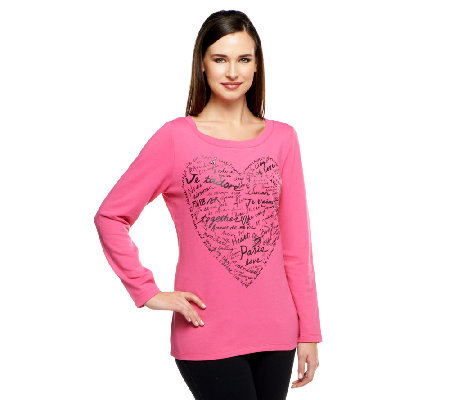 Susan Graver Weekend French Terry Screen Printed Top