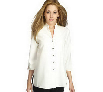 """As Is"" Susan Graver Stretch Crepe 3/4 Sleeve Mandarin Collar Jacket - A239906"