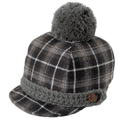 San Diego Hat Co. Childrens Plaid Pom-Pom Hat