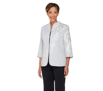 Bob Mackie's Embroidered Sequin & Jewel 3/4 Sleeve Jacket - A252306