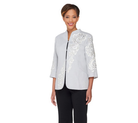 Bob Mackie's Embroidered Sequin & Jewel 3/4 Sleeve Jacket