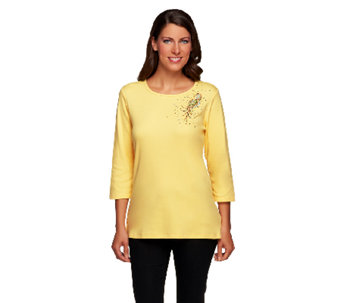 Quacker Factory The Bright Side 3/4 Sleeve T-shirt - A255806