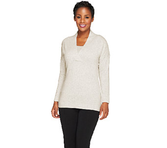 Isaac Mizrahi Live! 2-Ply Cashmere Pullover V-Neck Sweater - A257906