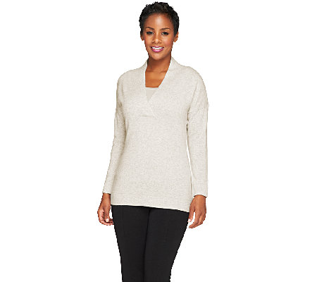 Isaac Mizrahi Live! 2-Ply Cashmere Pullover V-Neck Sweater