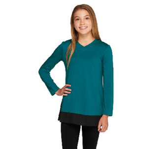 LOGO Littles by Lori Goldstein Knit Top with Panels and Side Godets - A259506