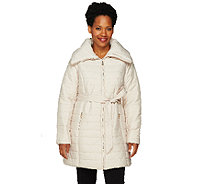 Dennis Basso Maxi Collar Puffer Coat with Belt - A259806