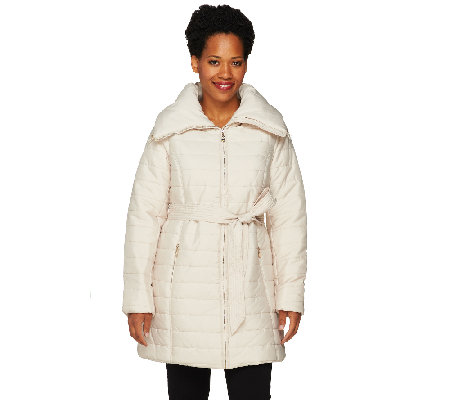 Dennis Basso Maxi Collar Puffer Coat with Belt