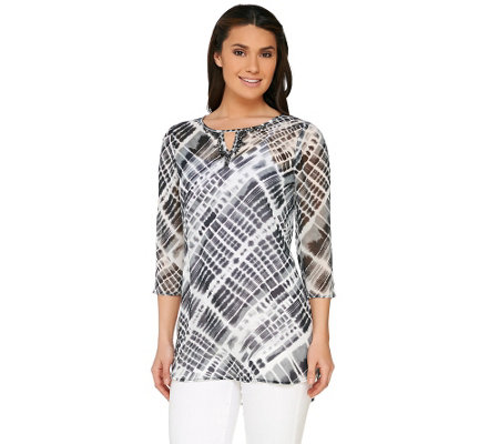 Susan Graver Printed Sheer Chiffon Tunic with Embellishment