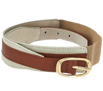 Isaac Mizrahi Live! Leather Belt w/ Stretch Canvas - A264206