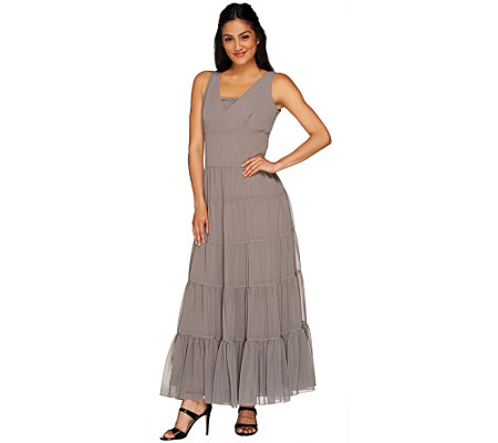 G.I.L.I. Petite Faux Silk V-neck Tiered Maxi Dress