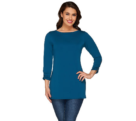 Susan Graver Premier Knit Top with Split Sleeve Detail