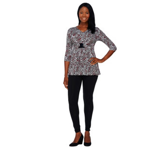 Women with Control Petite Printed Top and Ruched Leggings Set - A267806