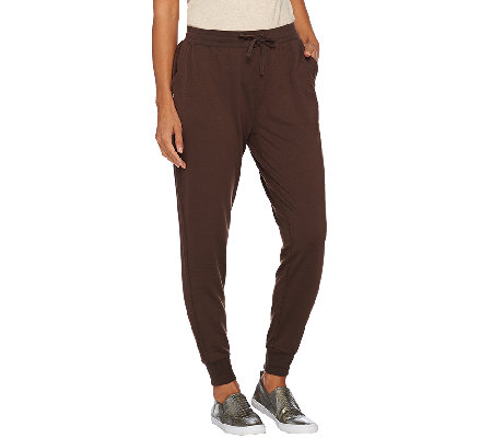 Lisa Rinna Collection Drawstring Knit Pants with Banded Bottom