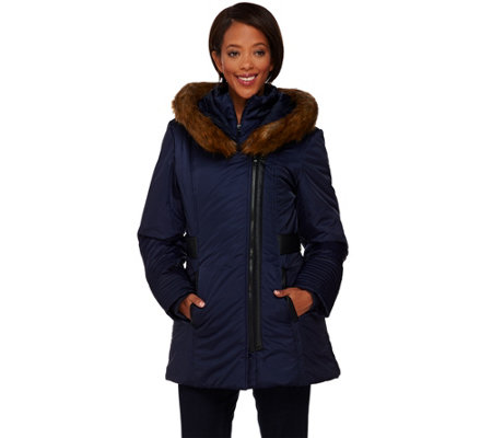 Susan Graver Asymmetrical Zip Front Coat with Faux Fur Trim