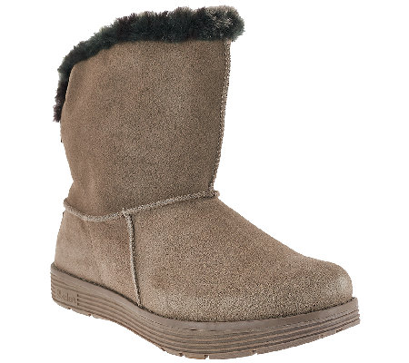 Skechers Suede Printed Faux Fur Boots - J'adore