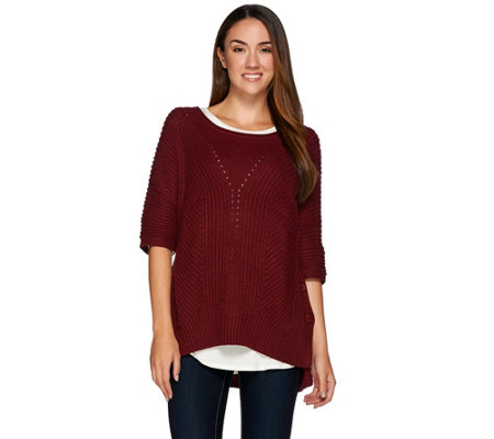 H by Halston Chunky Side Button Sweater with Ribbing Details
