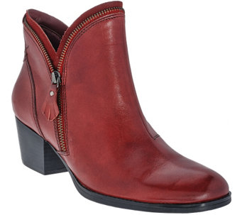 Earth Leather Ankle Boots w/ Zipper Detail - Hawthorne - A270006