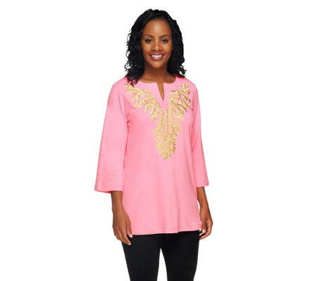 """As Is"" Quacker Factory Living Coral Pastel Embroidered Tunic"