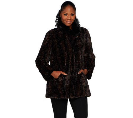 Dennis Basso Faux Fur Shawl Collar Swing Coat
