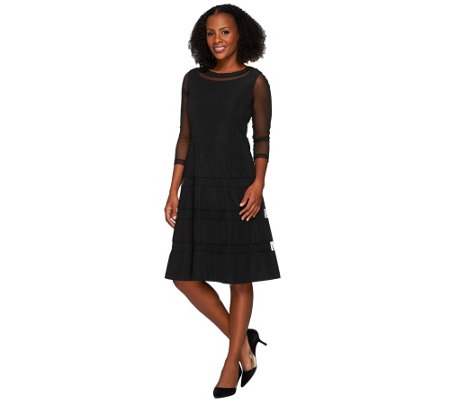 Dennis Basso Knit Dress with Mesh Insets