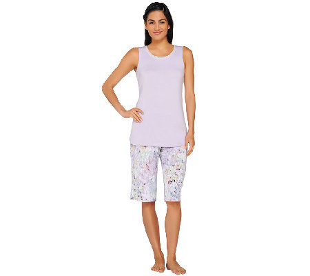"""As Is"" LOGO Luna by Lori Goldstein Tank & Pedal Pusher Pajama Set"