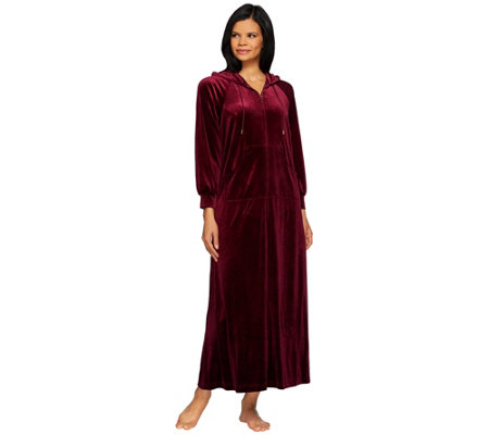 Joan Rivers Regular Length Zip Front Velour Lounger with Hood