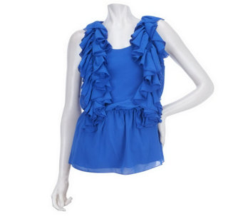 """As Is"" M by Marc Bouwer Scoop Neck Ruffle Top with Waist Detail - A272106"