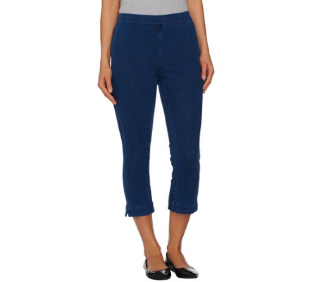 Isaac Mizrahi Live! Regular Knit Denim Pull-On Crop Jeans