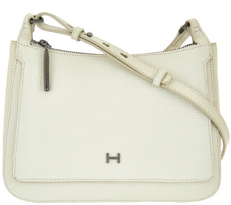 H by Halston Saffiano & Smooth Leather Crossbody Saddle Bag
