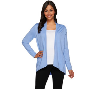 Susan Graver Polyester Rayon Nylon Cascade Front Cardigan Sweater - A274506