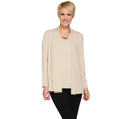 Susan Graver Liquid Knit Cardigan & Tank Set with Chain Trim