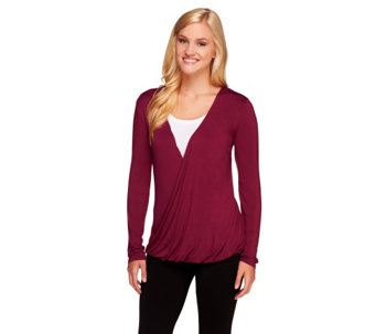 """As Is"" Nicole Richie Collection Drape Front Jersey Knit Top - A276706"