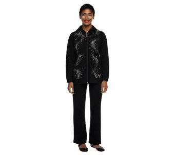 """As Is"" Quacker Factory Rhinestone SwirlJacket and Pants Set - A277506"