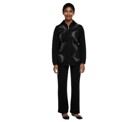 """As Is"" Quacker Factory Rhinestone SwirlJacket and Pants Set"