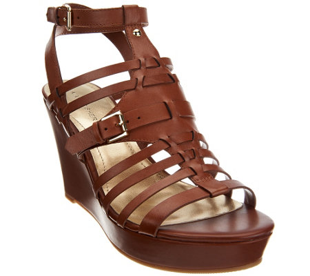 """As Is"" Marc Fisher Leather Multi-strap Wedge Sandals"