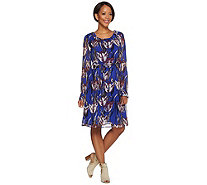 Isaac Mizrahi Live! Tulip Floral Chiffon Dress with Tie Belt - A279006