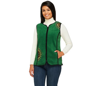 """As Is"" Bob Mackie's Zip Front Embroidered Fleece Vest - A279706"