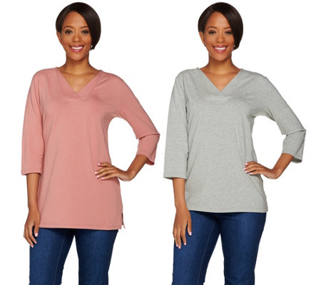 Denim & Co. Essentials V-neck 3/4 Sleeve Top & Tunic Set
