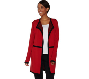 Dennis Basso Open Front Cardigan with Contrast Trim - A280706