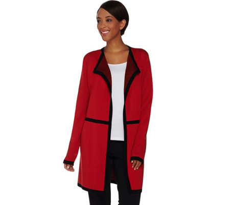 Dennis Basso Open Front Cardigan with Contrast Trim