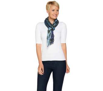 "Denim & Co. 28"" x 72"" Houndstooth Scarf - A280806"