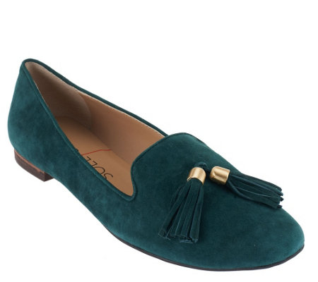 """As Is"" Sole Society Suede Smoking Slipper with Tassels - Ceara"