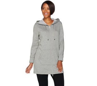 Isaac Mizrahi Live! SOHO Plushed Back Zip Front Tunic Hoodie - A281206