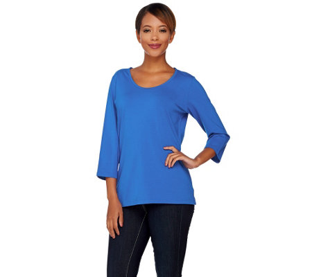 """As Is"" Denim & Co. Essentials U Neck 3/4 Sleeve Top"