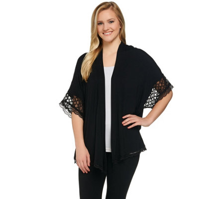 """As Is"" LOGO by Lori Goldstein Kimono Cardigan w/Mesh Insert and Lace Trim"