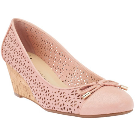 """As Is"" Isaac Mizrahi Live! Perforated Leather Cork Wedges"