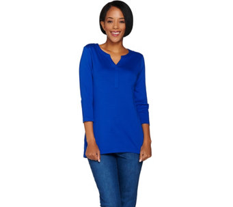 Isaac Mizrahi Live! Essentials Pima Cotton Henley Tunic - A286106