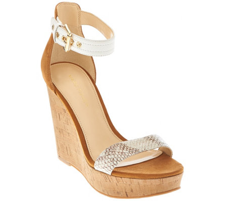 """As Is"" Marc Fisher Suede Ankle Strap Cork Wedges - Heart"