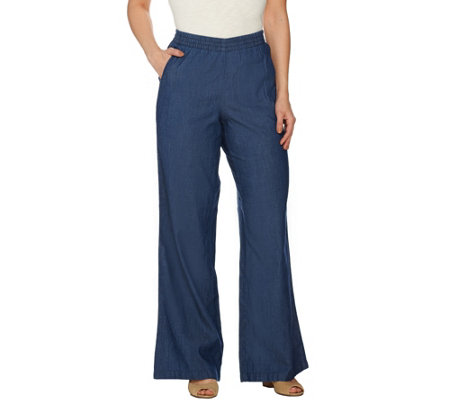 """As Is"" Denim & Co. Petite Chambray Pull-on Wide Leg Pants"