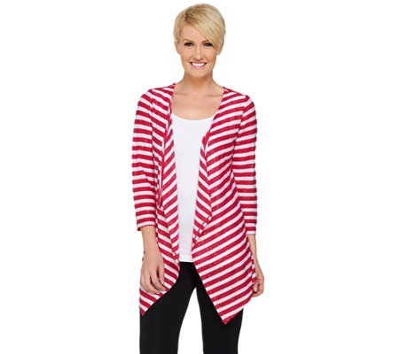 """As Is"" Susan Graver Weekend Sequin Stripe Sweater Knit Cardigan"